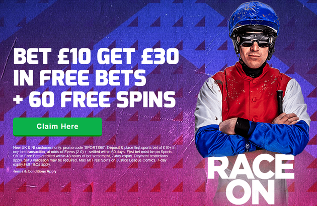 betfred bet 10 - get £30 and  60 spins